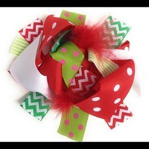 "6"" Christmas Korker Marabou Feather Big Hair Bow"